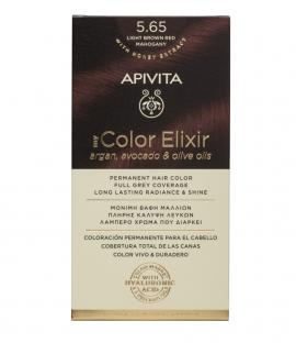 Apivita My Color Elixir kit Μόνιμη Βαφή Μαλλιών 5.65 ΚΑΣΤΑΝΟ ΑΝΟΙΧΤΟ ΚΟΚΚΙΝΟ ΜΑΟΝΙ