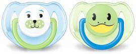 AVENT Ορθοδοντική πιπίλα σιλικόνης με ζωάκια 6-18 μηνών SCF182/14 Γαλάζιο & Πράσινο Χρώμα 2τμχ