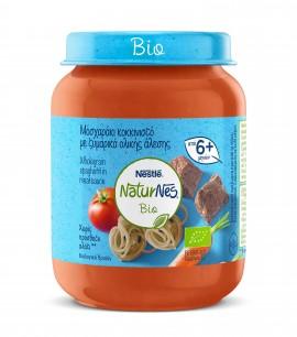 Nestle NaturNes Bio Βιολογική Παιδική Τροφή Μοσχαράκι κοκκινιστό με ζυμαρικά ολικής άλεσης από 6 Μηνών 190gr