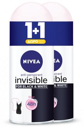 NIVEA Αποσμητικό Roll On Invisifle Clear 50ml 1+1 ΔΩΡΟ