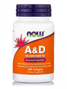 Now Foods Vitamin A&D 10,000 IU/400IU 100 Softgels.