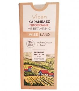 Vican Wise Land Καραμέλες Πρόπολης με Βιταμίνη C Χωρίς Ζάχαρη 22gr
