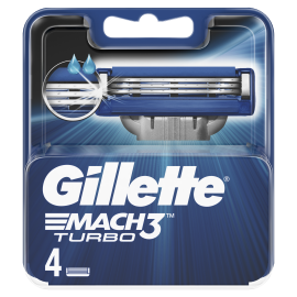 Gillette Mach3 Turbo Ανταλλακτικές Κεφαλές Ξυριστικής Μηχανής, 4 Ανταλλακτικά, Με Λεπίδες πιο Δυνατές Και Από Ατσάλι