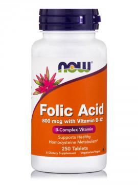 Now Foods Folic Acid 800mcg With Vitamin B-12 250tabs.
