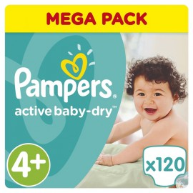 Pampers Active Baby Dry Mega Pack No.4+ (9-16kg) 120 Πάνες