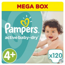 Pampers Active Baby-Dry No.4+ (9-18Kg) 120 Πάνες