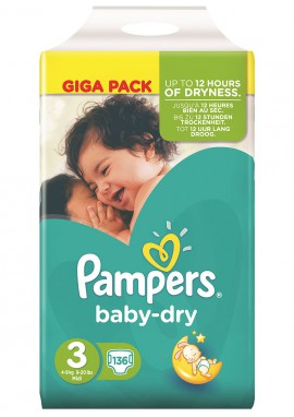 PAMPERS GIGA PACK Baby Dry Midi No3 (4-9kg) 136τμχ
