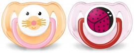 AVENT Ορθοδοντική πιπίλα σιλικόνης με ζωάκια 6-18 μηνών SCF182/15 Πορτοκαλί & Ροζ Χρώμα 2τμχ.