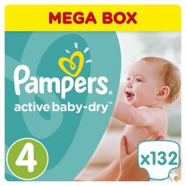 Pampers Active Baby Dry No.4 (8-14kg) 132 Πάνες