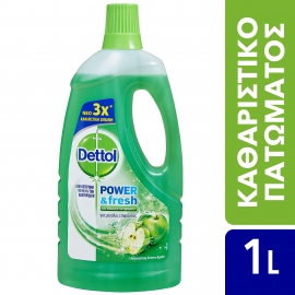 Dettol Power & Fresh Αντιβακτηριδιακό Πολυκαθαριστικό Για Μεγάλες Επιφάνειες Green Apple 1lt