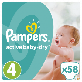 PAMPERS Active Baby-Dry No.4 MAXI(8-1 4Kg) 58 Πάνες