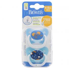 Dr. Browns Πιπίλα πεταλούδα ορθο/κη μπλε, επίπεδο 2, 6-12 μηνών (2 τεμ.)