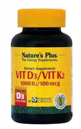 NATURES PLUS Vitamin D3 & Vitamin K2, 1000iu, 100mcg, 90vcaps