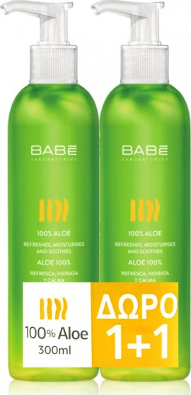 Babe Aloe 100% (2 x 300ml) - Ενυδατικό, Αναζωογονητικό Τζελ με Αλόη