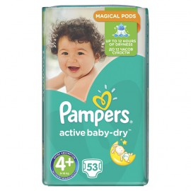 PAMPERS Active Baby-Dry No.4+ MAXI PLUS (9-16 kg) 53 Πάνες