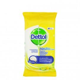 Dettol Αντιβακτηριδιακά Υγρά Πανάκια Καθαρισμού Πολλαπλών Χρήσεων με Άρωμα Λεμόνι 40τμχ