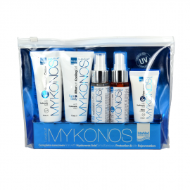 InterMed Luxurious Mykonos Kit, Face Cream SPF50 30ml + Tanning Oil SPF6 50ml + Hydrating Antioxidant Mist Face & Body 50ml + After Sun Cooling Gel 75ml + Sunscreen Cream SPF30 75ml