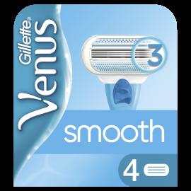 Gillette Venus Smooth Ανταλλακτικές Λεπίδες Γυναικείας Ξυριστικής Μηχανής 4 τμχ, Με 3 Λεπίδες Που Αγκαλιάζουν Τις Καμπύλες Σας