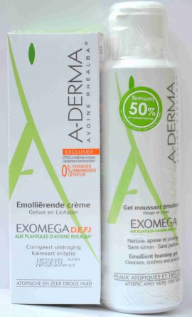 ADERMA Exomega Cream DEFI 200ml + Exomega Gel moussant 500ml