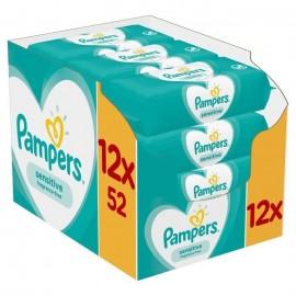 Pampers Sensitive Wipes Μωρομάντηλα για το ευαίσθητο δερματάκι του μωρού 12 x 52 τεμ