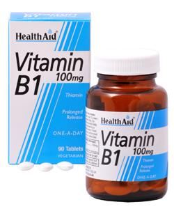HEALTH AID VITAMIN B1 (THIAMIN HCl) 100mg TABLETS 90s