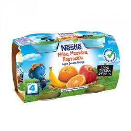 Nestle Παιδική Τροφή με Μήλο, Μπανάνα και Πορτοκάλι από 4 Μηνών 2x130gr