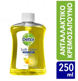 Dettol Soft on Skin Hard on Dirt Liquid Ανταλλακτικό Αντιβακτηριδιακό Υγρό Κρεμοσάπουνο με Λεμόνι 250ml