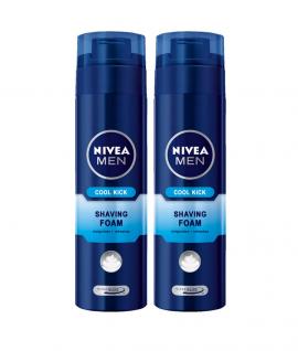 Nivea Men Cool Kick Shaving Foam Αφρός Ξυρίσματος 2x200ml (3 ευρώ Δώρο)