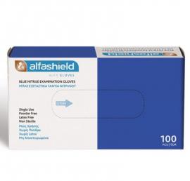 Alfashield Εξεταστικά Γάντια Νιτριλίου μιας Χρήσης Χωρίς Πούδρα ΜΠΛΕ Medium 100τμχ
