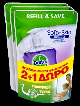 Dettol Soft on Skin Hard on Dirt Liquid Ανταλλακτικό Υγρό Κρεμοσάπουνο Χαλαρωτικό 2+1 Δώρο 3Χ200ml