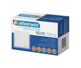 Alfashield 15x15cm Αποστειρωμένες Γαζες 12τμχ