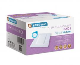 Alfashield Self Adhesive Pad 10cmX10cm Αποστειρωμένο Αντικολλητικό Υποαλλεργικό Αυτοκόλλητο Επίθεμα 50τμχ