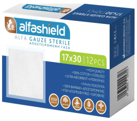 Alfashield 17x30cm Αποστειρωμένες Γαζες 12τμχ