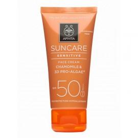 Apivita Suncare Sensitive Face Cream SPF50 με Χαμομήλι & 3D Pro-Algae Αντιηλιακή κρέμα προσώπου για Ευαίσθητες Επιδερμίδες 50ml