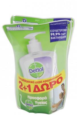 Dettol Soft on Skin Hard on Dirt Liquid Ανταλλακτικό Υγρό Κρεμοσάπουνο για Ευαίσθητες Επιδερμίδες 2+1 Δώρο 3Χ200ml