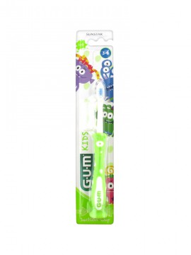 Gum 901 Kids Monsters Πράσινη Παιδική Οδοντόβουρτσα 3-6 Ετών 1τμχ.
