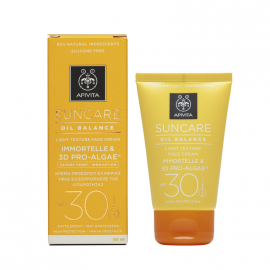 Apivita Suncare Oil Balance Light Texture Face Cream SPF30 με Eλίχρυσο & 3D PRO-ALGAE® 50ml