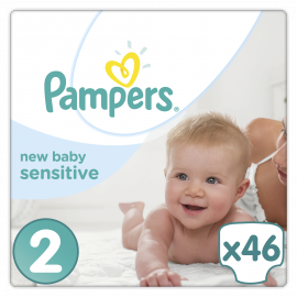PAMPERS New Baby Sensitive Mini Νο2 (3-6kg) 46τμχ
