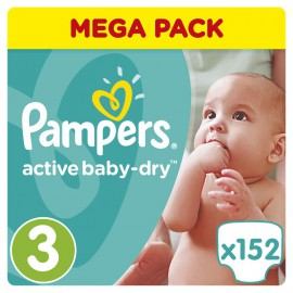 Pampers Active Baby-Dry No.3 (5-9Kg) 152 Πάνες