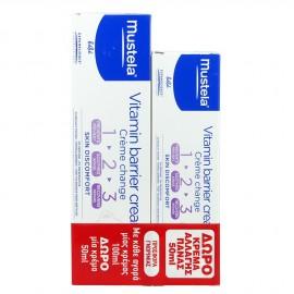 Mustela Vitamin Barrier Cream 1 2 3 Κρέμα Αλλαγής Πάνας 100ml + Δώρο Vitamin Barrier Cream 1 2 3 Κρέμα Αλλαγής Πάνας 50ml