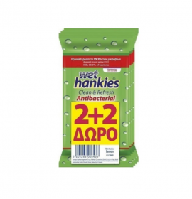 Mega Wet Hankies Μαντηλάκια αντιβακτηριδιακά με αιθυλική αλκοόλη με άρωμα λεμόνι (4x15τεμ)2+2 Δώρο