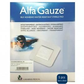 Alfa Gauze Water Resistant Αδιάβροχα Αυτοκόλλητα Επιθέματα 9cm x 20cm 5τμχ