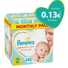 Pampers Premium Care Πάνες Μέγεθος 2 Monthly 4-8kg 240 Πάνες