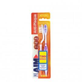 Aim Οδοντόβουρτσα Anti-plaque Μέτρια 2τμχ