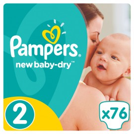 Pampers New Baby-Dry Jumbo Pack No 2 (3-6Kg) 76τμχ