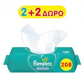 Pampers Fresh Clean Μωρομάντηλα 52τμχ 2+2 Δώρο
