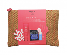 Apivita Set Bee Sun Safe Hydra Sensitive Soothing Face Cream SPF50+ 50ml + Aqua Beelicious Booster 10ml + Express Beauty Face Mask Sea Lavender 2x8ml