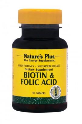 NATURES PLUS Biotin 2mg & Folic Acid 800mcg SR 30tabs