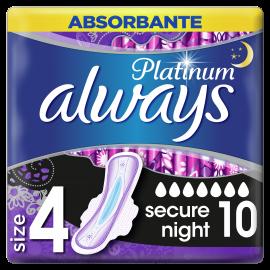 Always Platinum Secure Night No4 Σερβιέτες Με Φτερά 10τμχ