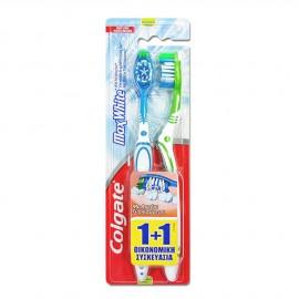 Colgate Max White Medium Οδοντόβουρτσα Μπλε - Πράσινη 1+1 Δώρο